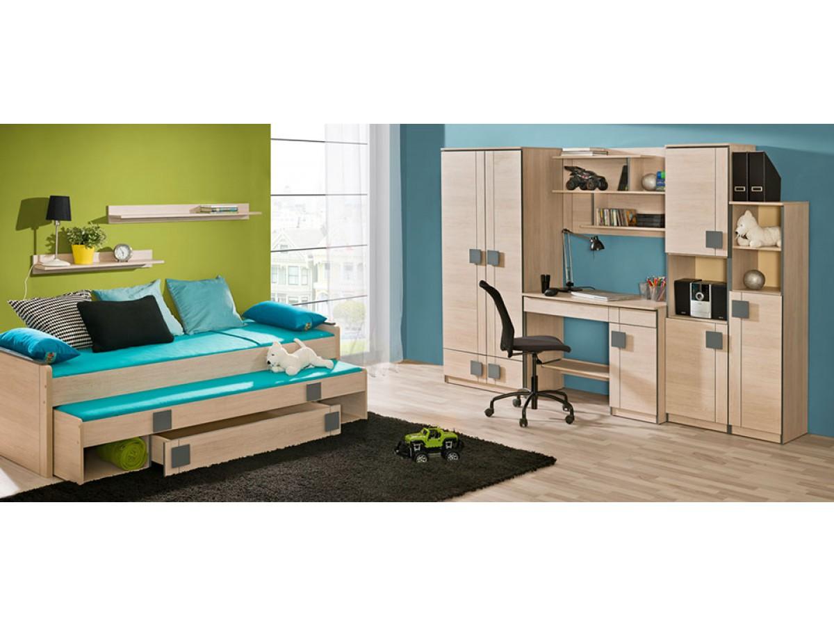 jugendbett mit ausziehbarem bett eiche santana grau 399 95. Black Bedroom Furniture Sets. Home Design Ideas