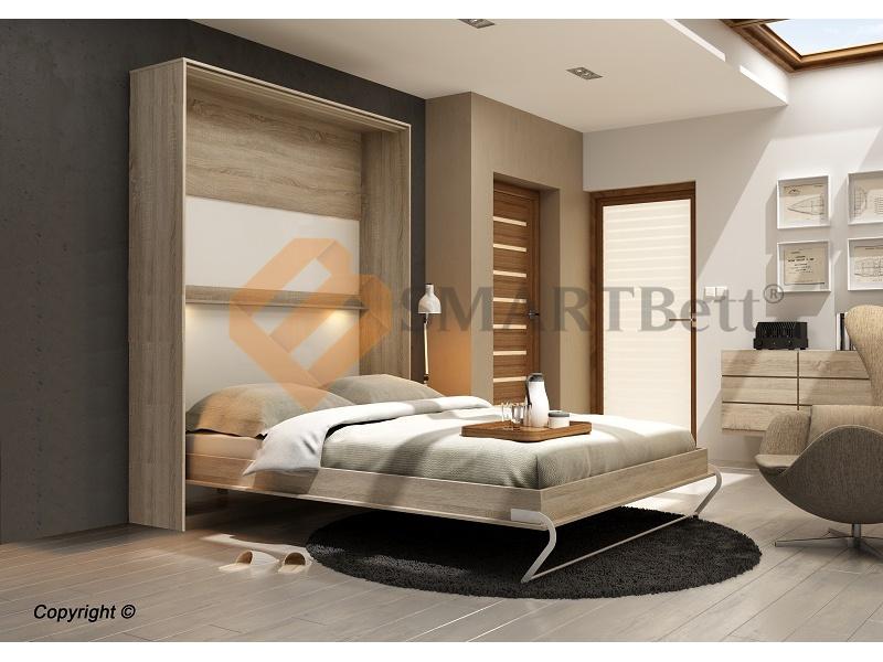 smartbett schrankbett 160x200 cm vertikal mit gasdruckfedern in 2 fa. Black Bedroom Furniture Sets. Home Design Ideas