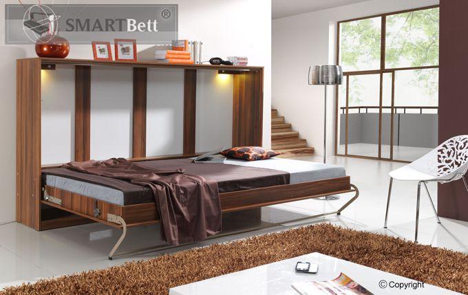 schrankbett smartbett klappbett querbett 140cm horizontal. Black Bedroom Furniture Sets. Home Design Ideas