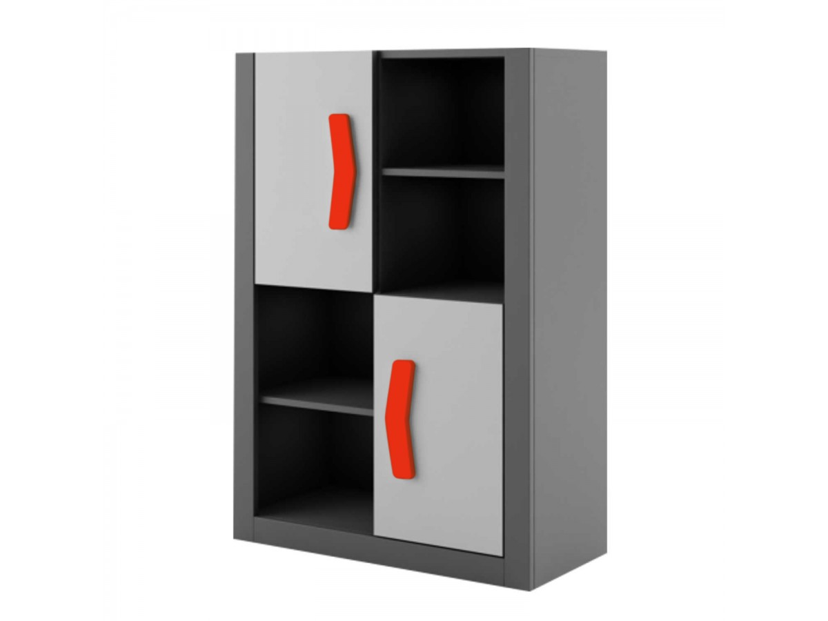 b cherregal boomerang anthrazit grau rot 230 95. Black Bedroom Furniture Sets. Home Design Ideas