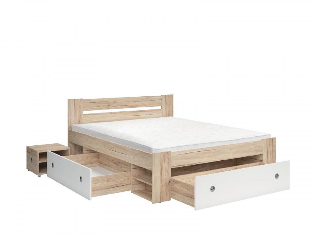 Doppelbett 160cm stefan eiche sonoma wei 495 95 - Schlafzimmer stefan ...