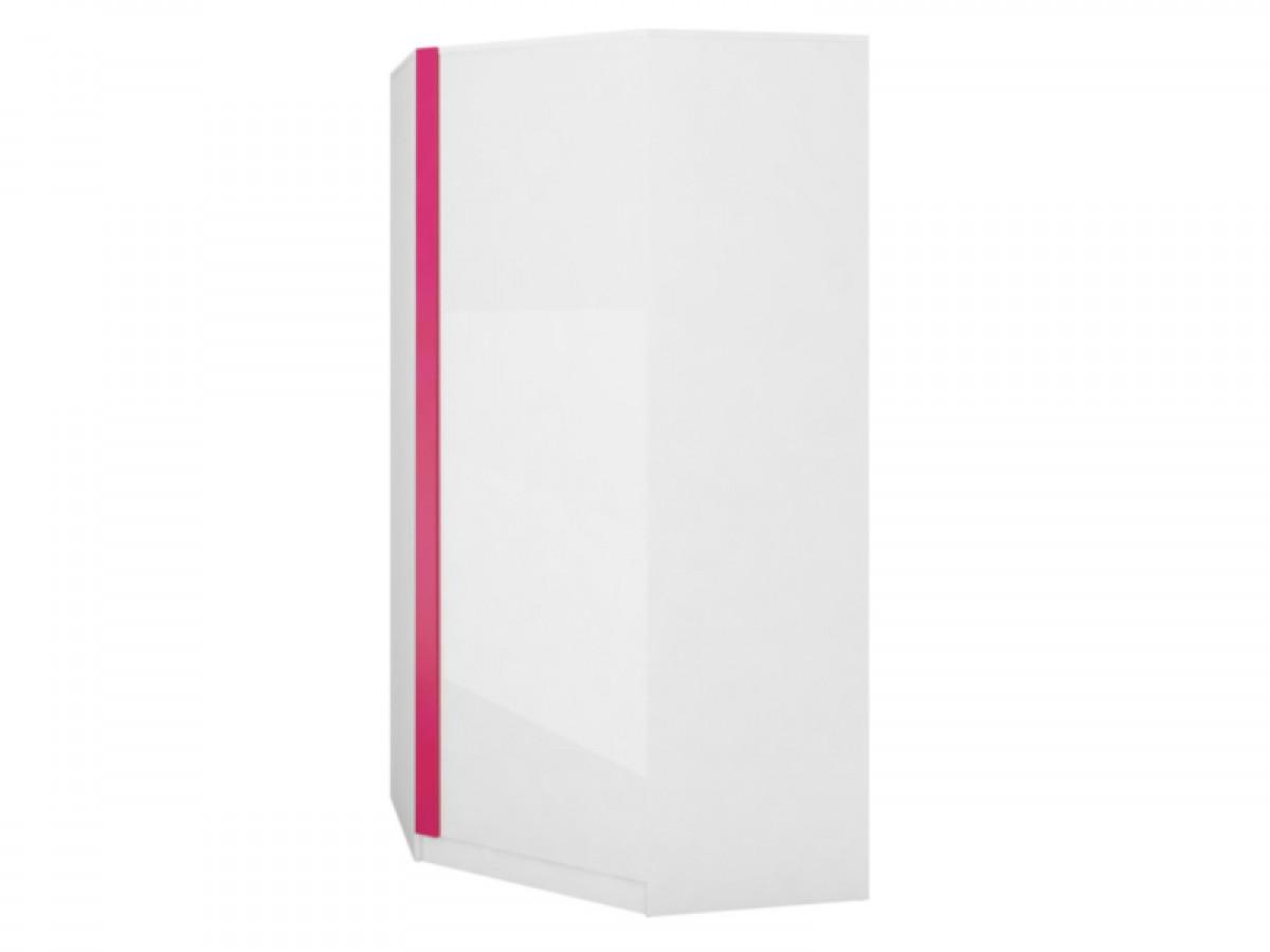 Eckkleiderschrank weiß  Eckkleiderschrank Y-17 Weiß/Weiß mit Hochglanzfront/Pink,