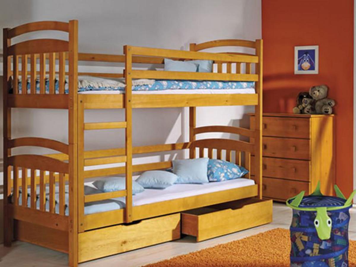 Etagenbett mit leiter erle echtholz hochbettf r kinder 565 95 for Jugendzimmer echtholz