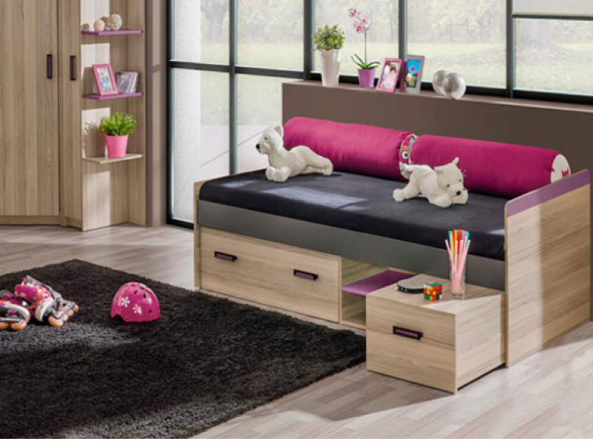 jugendbett mit 2 schubladen und matratze esche dunkel violett 343 30. Black Bedroom Furniture Sets. Home Design Ideas