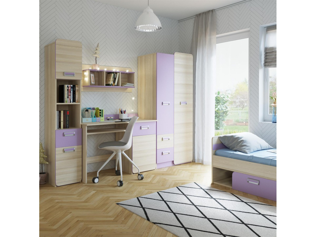 jugendzimmer komplett set limo 02 5 tlg esche natur violett 628 9. Black Bedroom Furniture Sets. Home Design Ideas