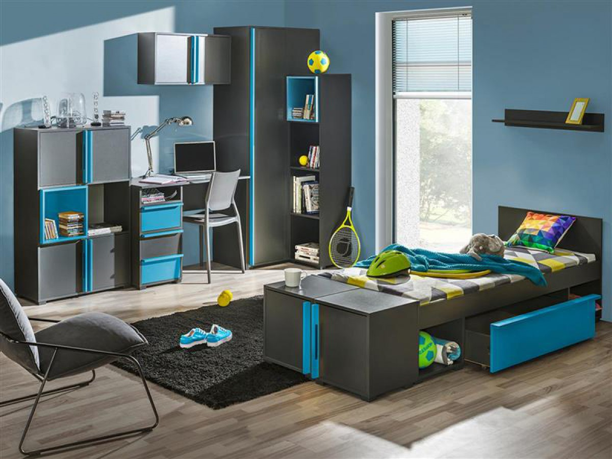 jugendzimmer f r jungs blau. Black Bedroom Furniture Sets. Home Design Ideas