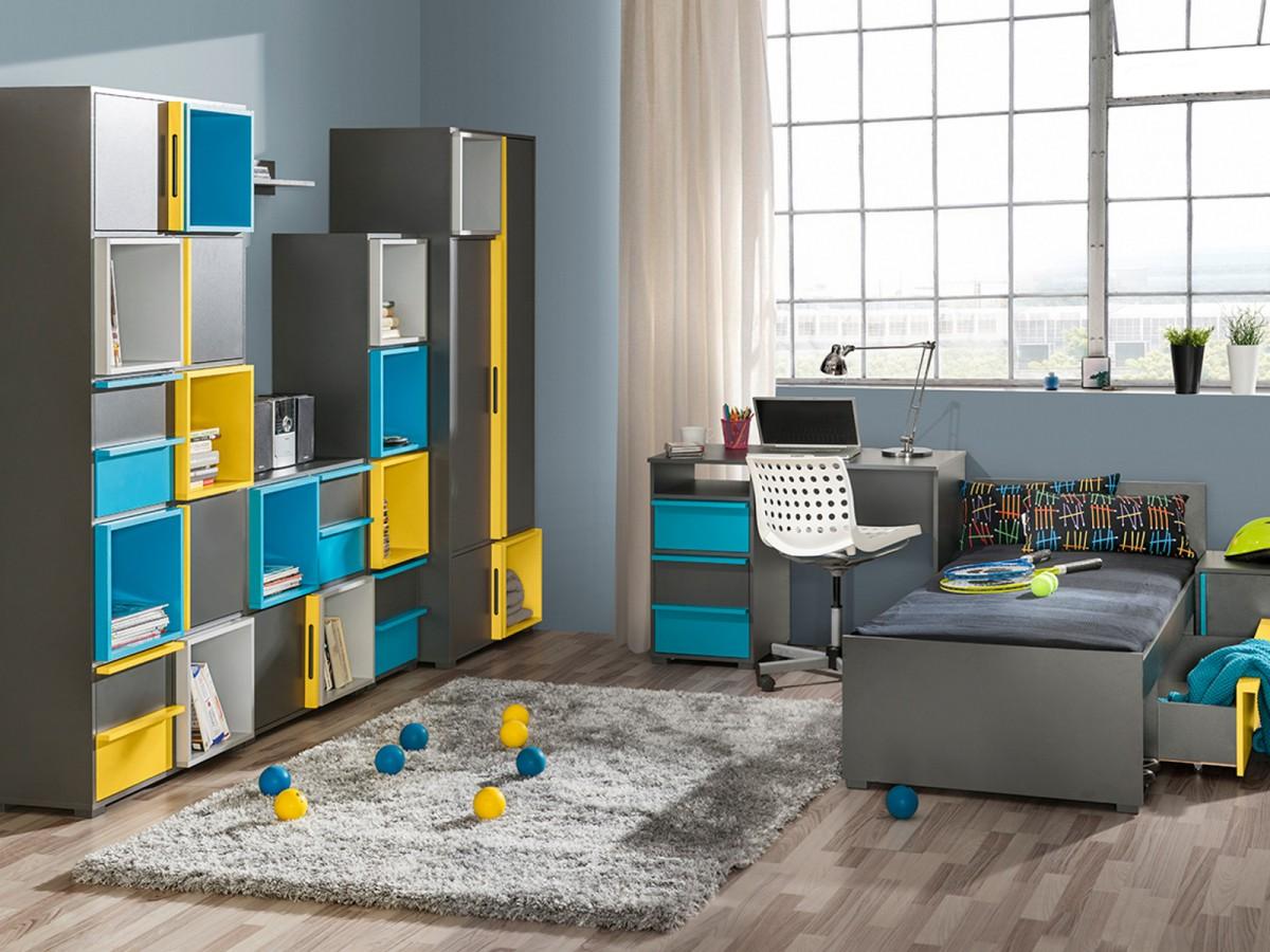 jugendzimmer komplett set bico 06 7 tlg anthrazit. Black Bedroom Furniture Sets. Home Design Ideas