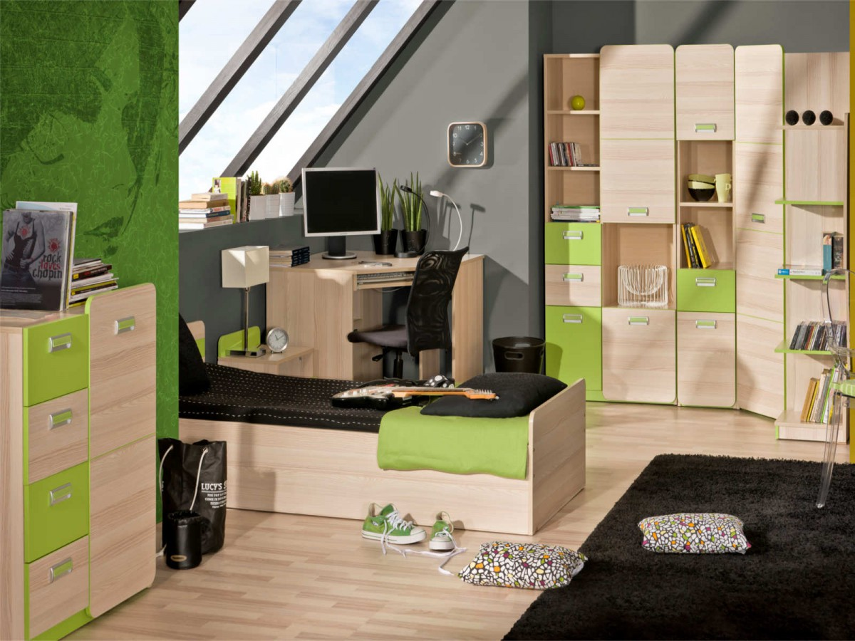 jugendzimmer komplett set limo 08 8 tlg esche natur gr n 835. Black Bedroom Furniture Sets. Home Design Ideas