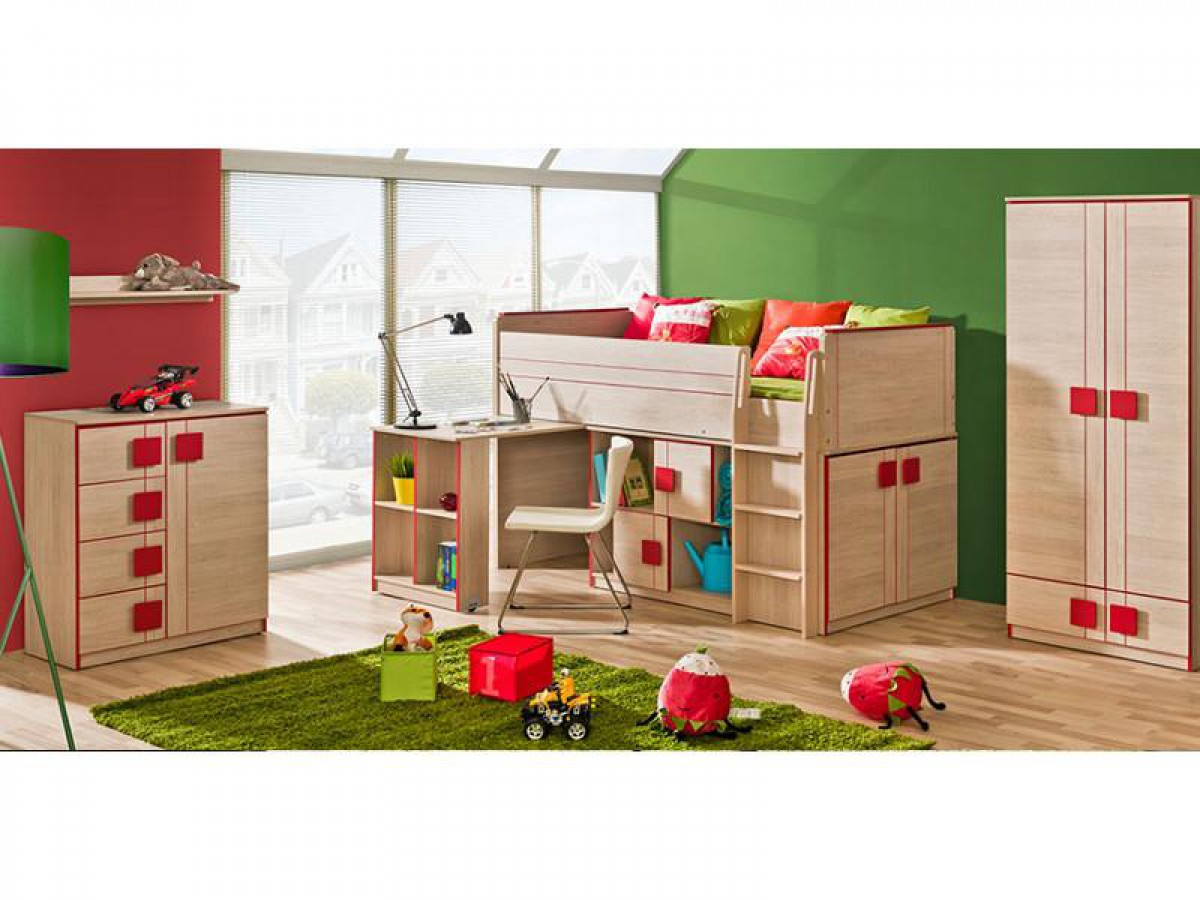 jugendzimmer komplett set mickys 06 4 tlg eiche santana rot 877 7. Black Bedroom Furniture Sets. Home Design Ideas