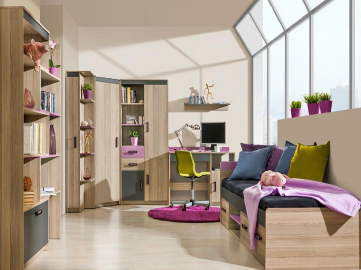 jugendzimmer komplett set timo 07 7 tlg esche dunkel violett 834. Black Bedroom Furniture Sets. Home Design Ideas
