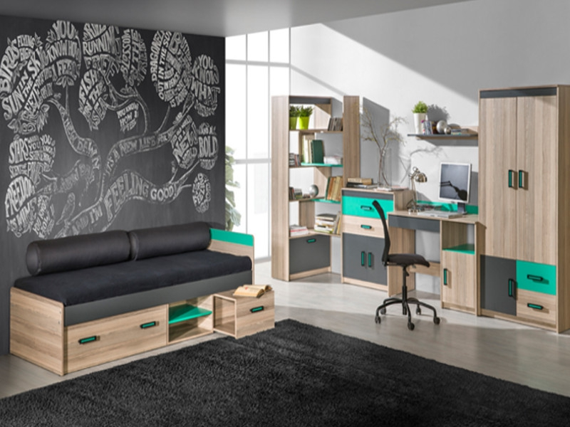 jugendzimmer timo 04 6 tlg esche dunkel gr n 757 35. Black Bedroom Furniture Sets. Home Design Ideas