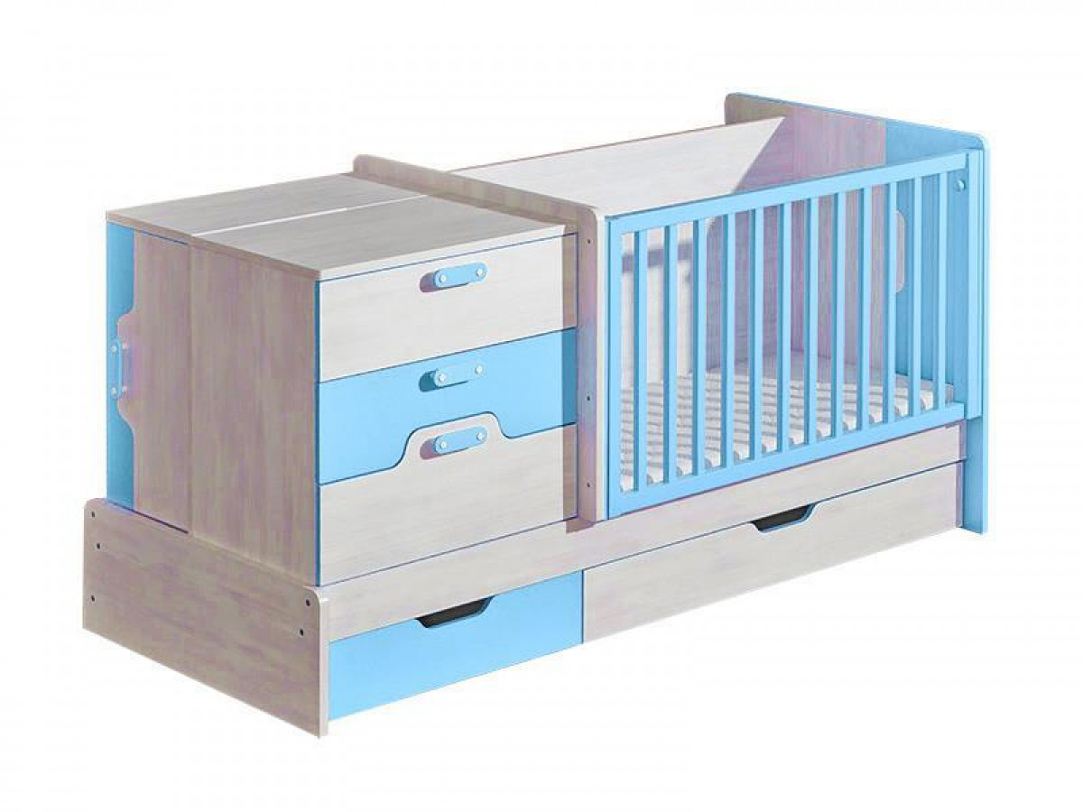mitwachsendes babybett nemo mit wickelkommode blau kiefer norwegen 5. Black Bedroom Furniture Sets. Home Design Ideas