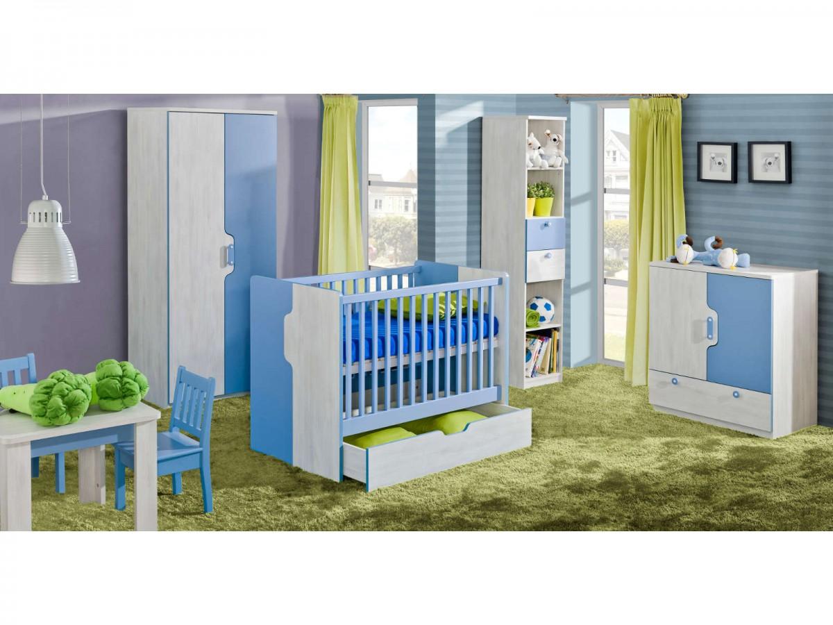 kinderzimmer babybett nemo 01 (6 tlg.) blau/kiefer-norwegen, 673,95 &