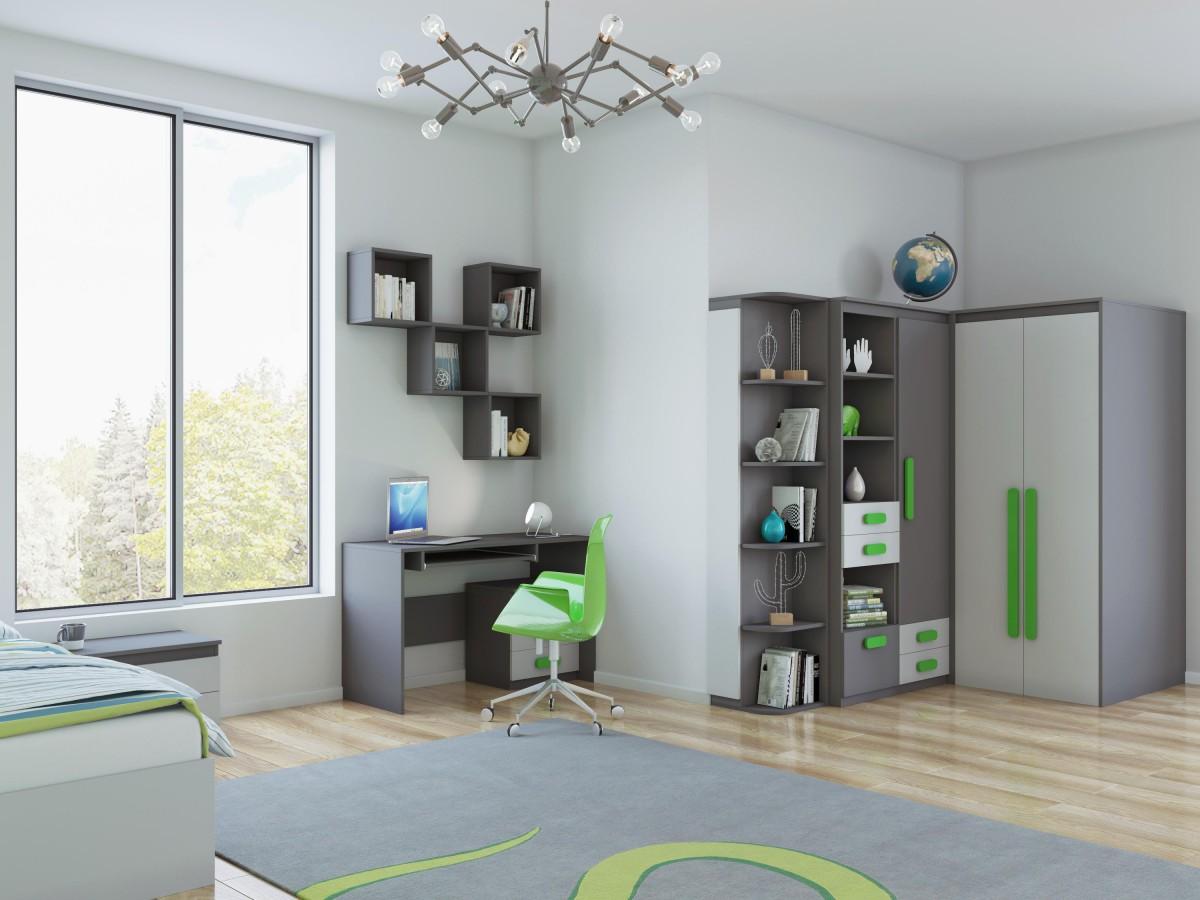 Jugendzimmer komplett mit begehbarem kleiderschrank  Jugendzimmer Komplett Set Play 08 (13 tlg.) Anthrazit/Grau/Grün,