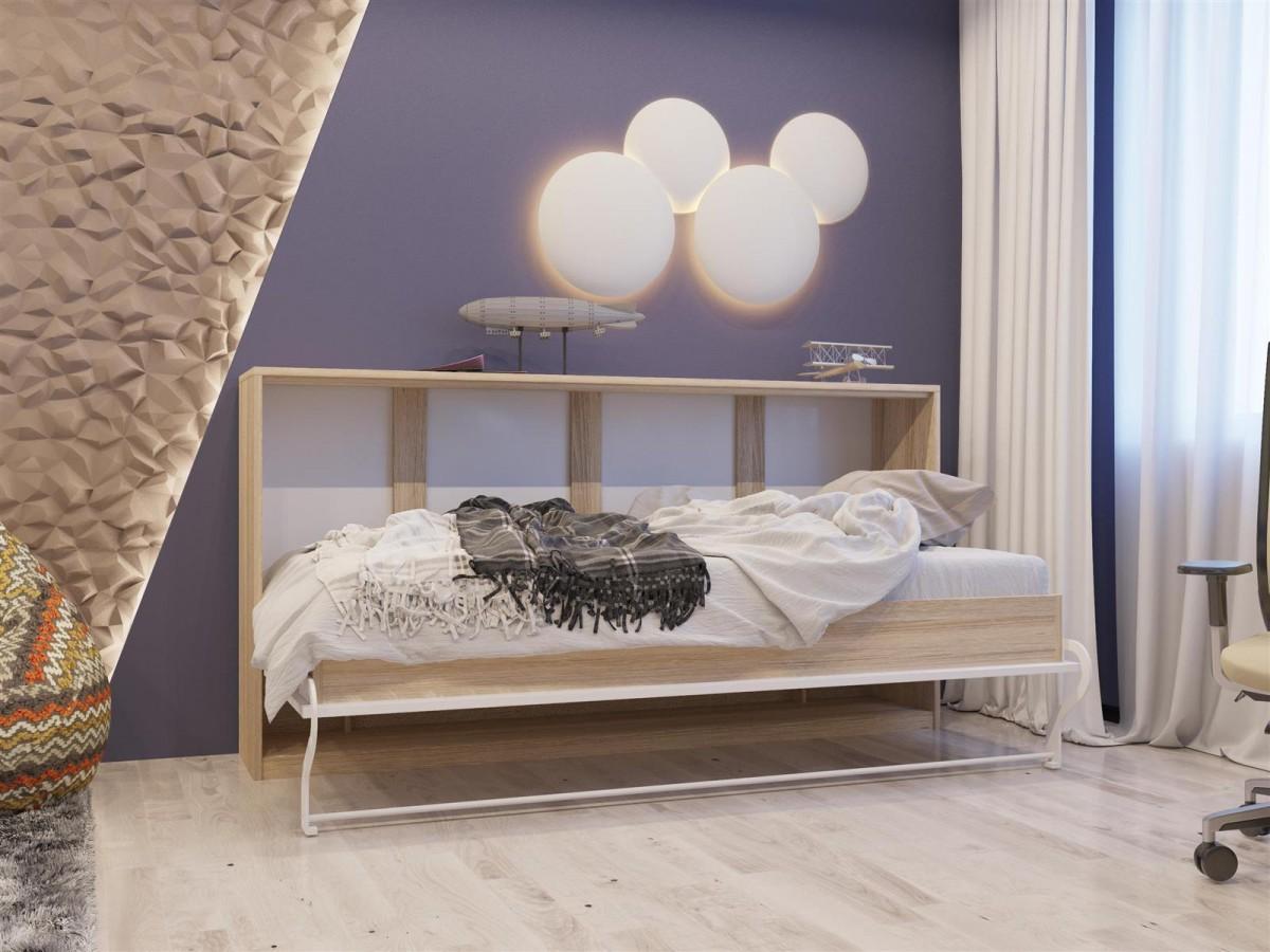 schrankbett 90cm horizontal eiche sonoma weiss. Black Bedroom Furniture Sets. Home Design Ideas