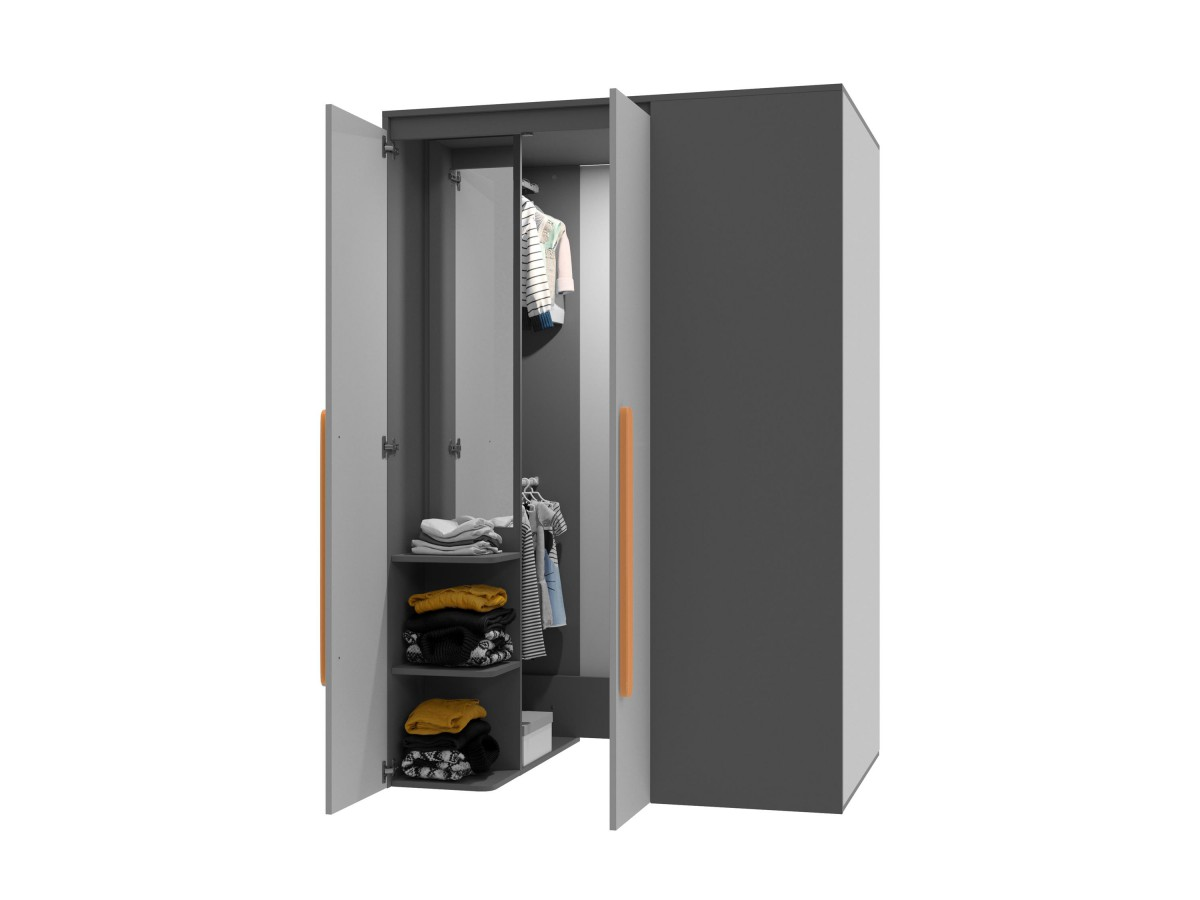 begehbarer kleiderschrank play links anthrazit grau orange. Black Bedroom Furniture Sets. Home Design Ideas