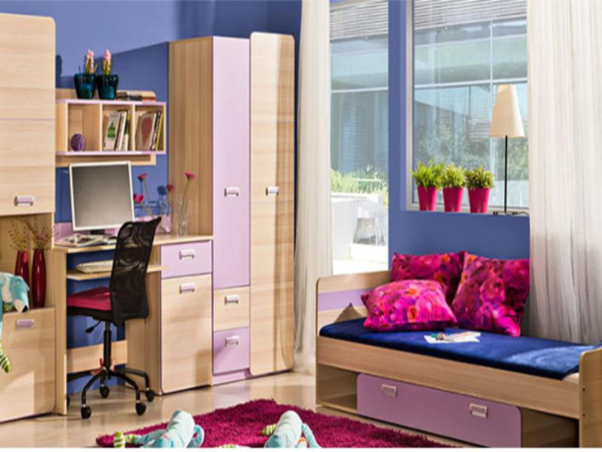 jugendzimmer komplett set limo 02 5 tlg esche natur violett 598 9. Black Bedroom Furniture Sets. Home Design Ideas