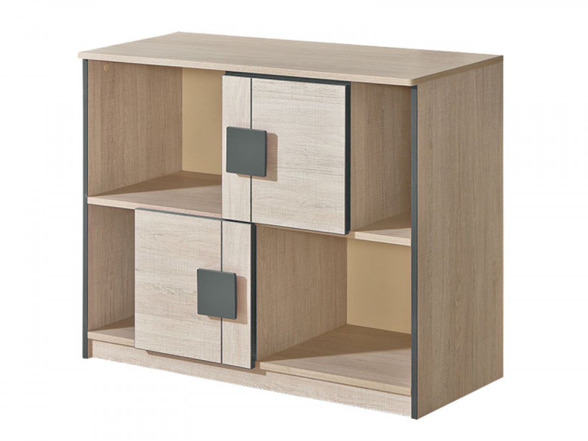kommode mit 2 t ren eiche santana grau 110 20. Black Bedroom Furniture Sets. Home Design Ideas