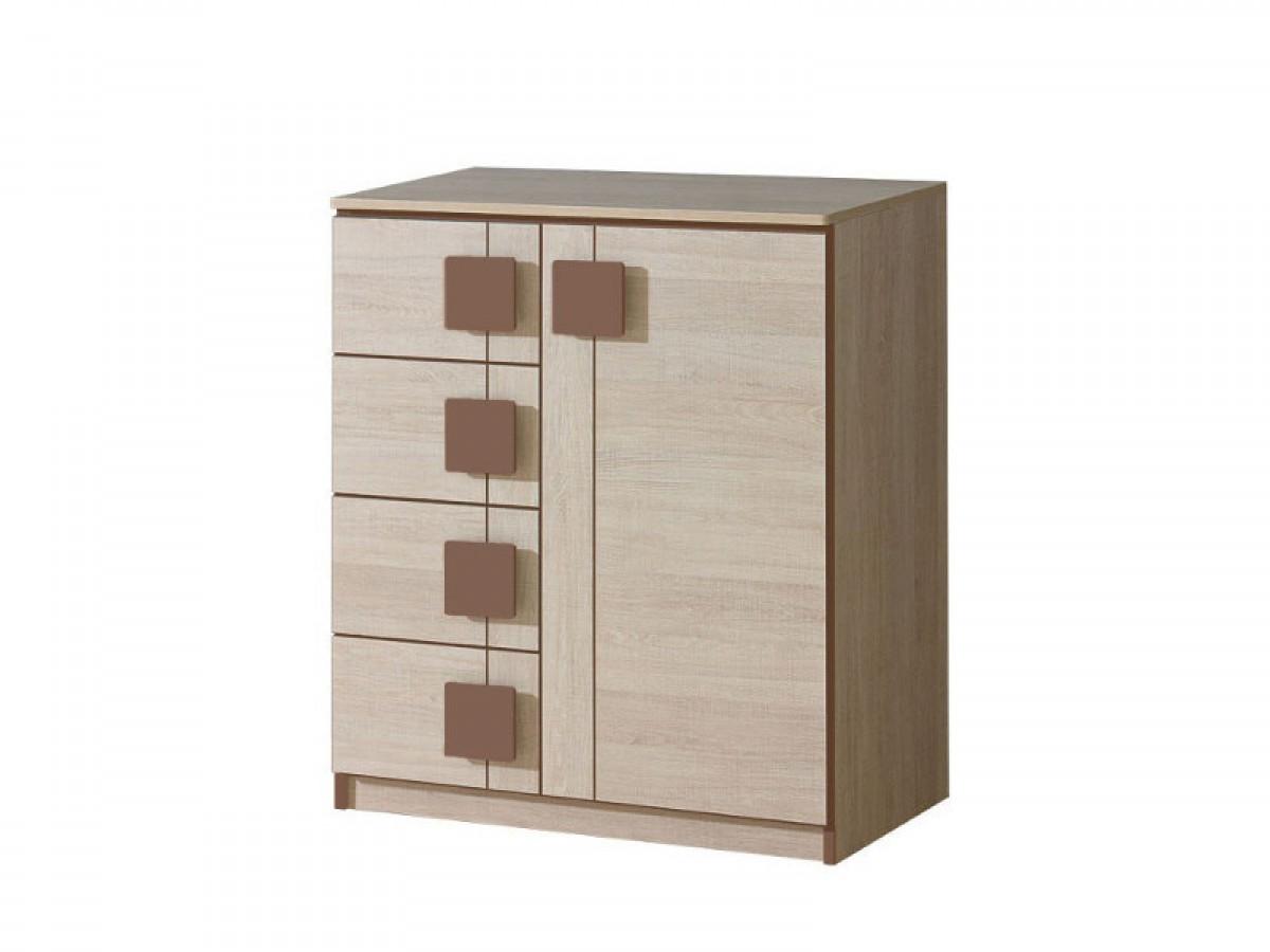 kommode mit einer t r und 4 schubladen eiche santana braun. Black Bedroom Furniture Sets. Home Design Ideas