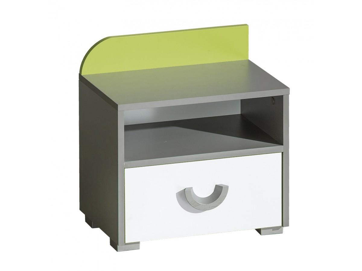 nachttisch futuro mit 1 schublade gr n brillantwei 57 0. Black Bedroom Furniture Sets. Home Design Ideas