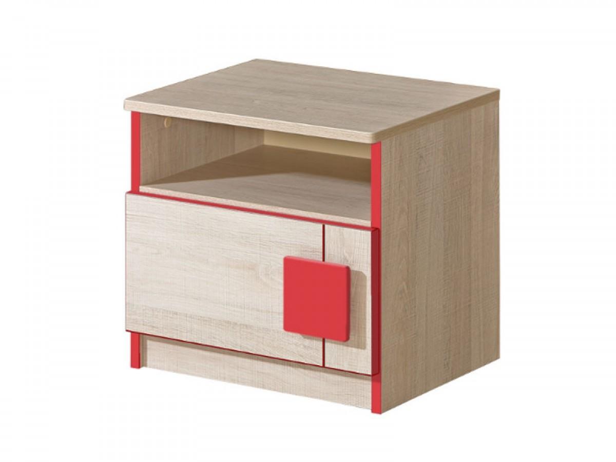 nachttisch mit einer t r eiche santana rot 49 30. Black Bedroom Furniture Sets. Home Design Ideas