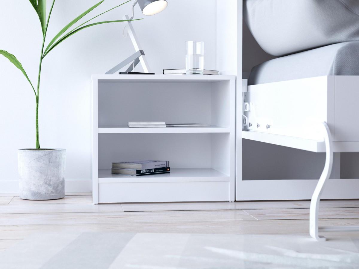 smart bedside table white 37 95. Black Bedroom Furniture Sets. Home Design Ideas