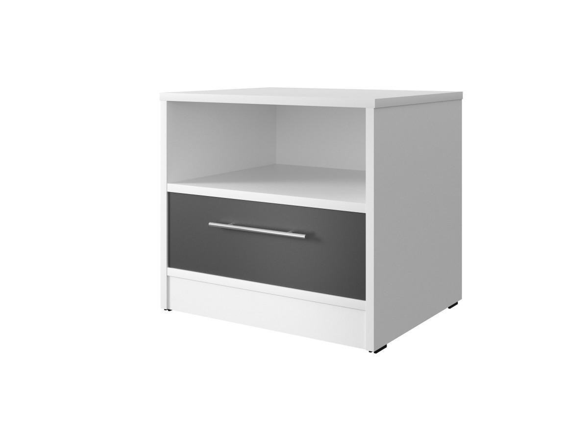 smartbett nachttisch mit einer schublade wei anthrazit. Black Bedroom Furniture Sets. Home Design Ideas