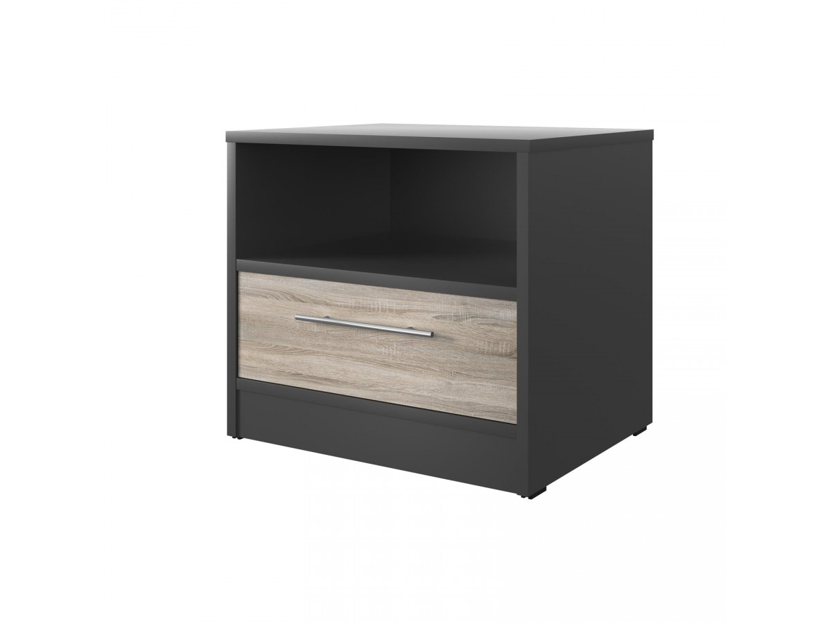 smartbett nachttisch mit einer schublade anthrazit grau eiche sonoma. Black Bedroom Furniture Sets. Home Design Ideas