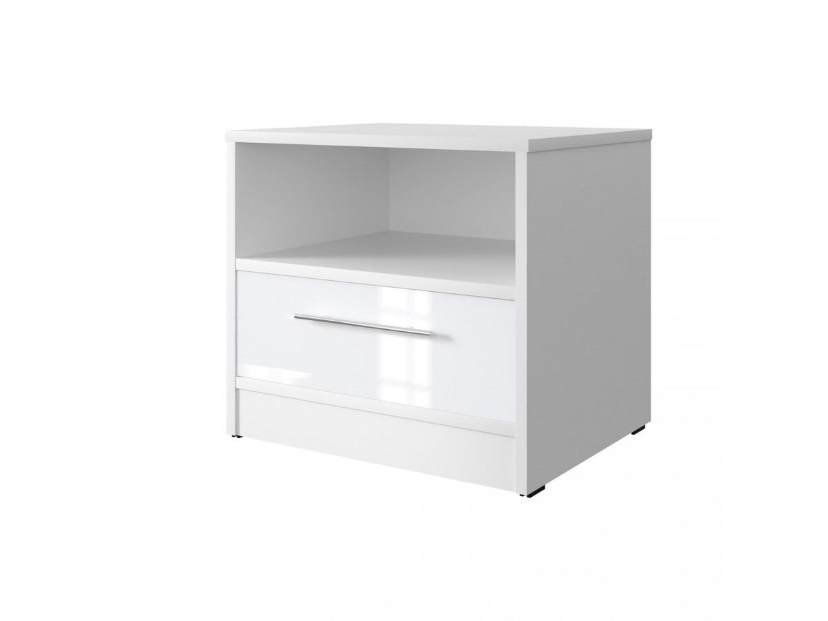 smartbett nachttisch mit einer schublade wei wei hochg. Black Bedroom Furniture Sets. Home Design Ideas