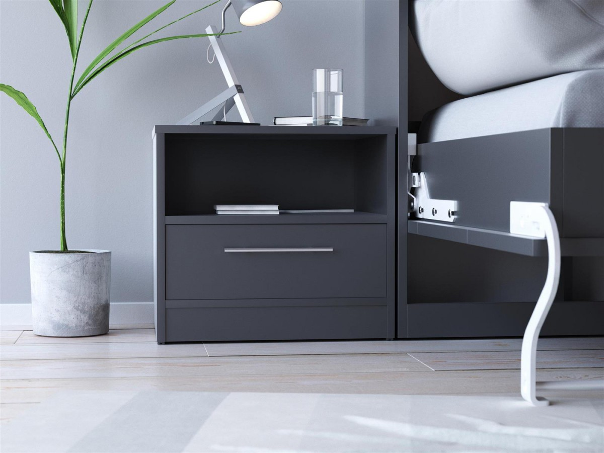 smartbett nachttisch mit einer schublade anthrazit grau 71 95. Black Bedroom Furniture Sets. Home Design Ideas