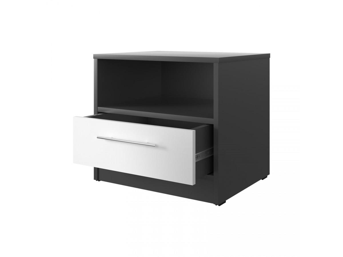 smartbett nachttisch mit einer schublade anthrazit grau weiss 61 95. Black Bedroom Furniture Sets. Home Design Ideas