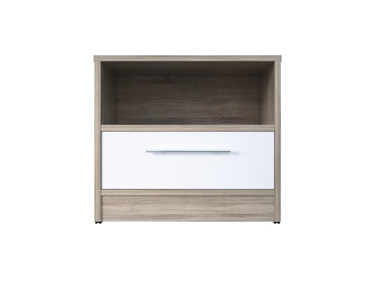 smartbett nachttisch mit einer schublade eiche sonoma wei. Black Bedroom Furniture Sets. Home Design Ideas