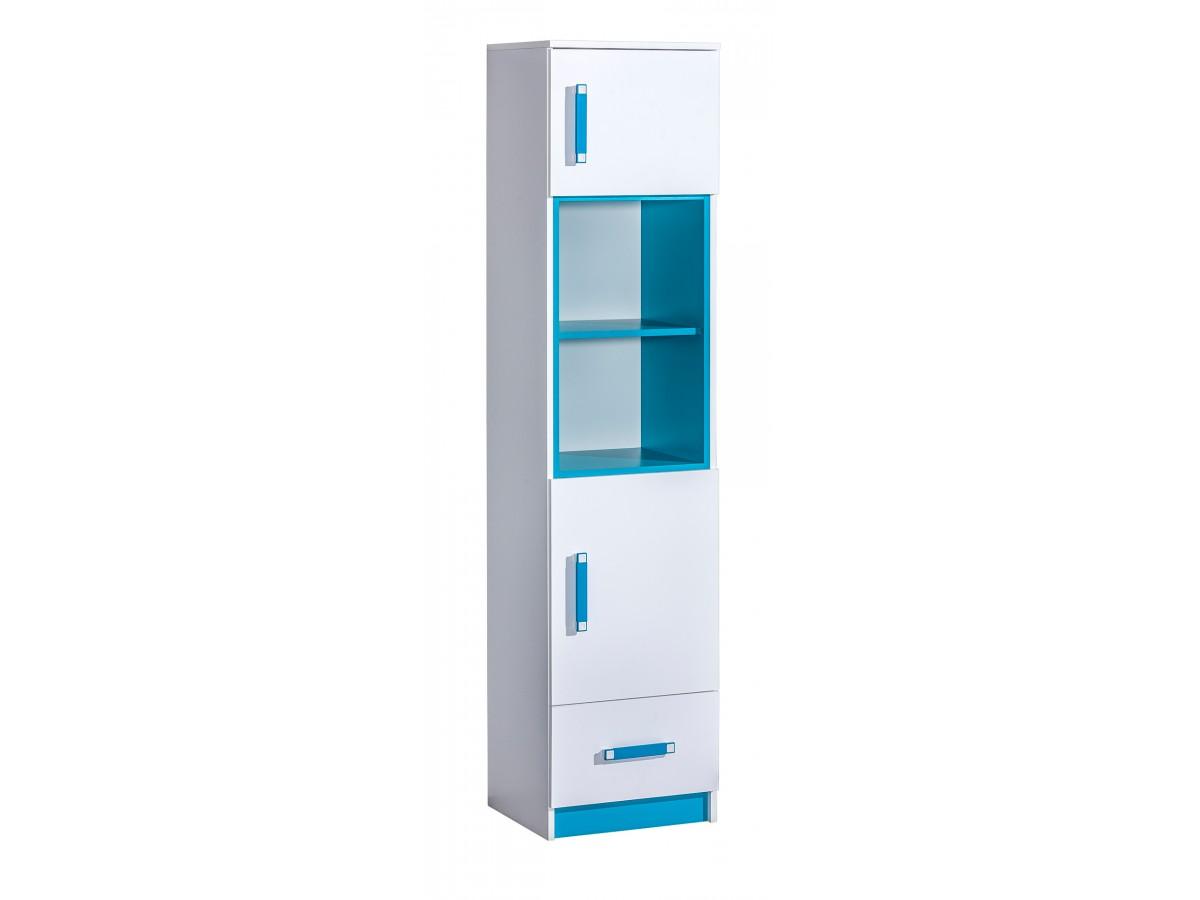 regal mit 2 t ren und 1 schublade weiss blau 209 95. Black Bedroom Furniture Sets. Home Design Ideas