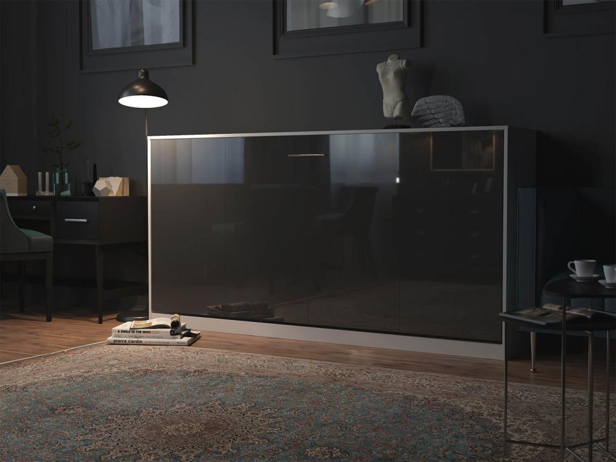 smartbett schrankbett basic 90x200 horizontal weiss anthrazit hochgl. Black Bedroom Furniture Sets. Home Design Ideas