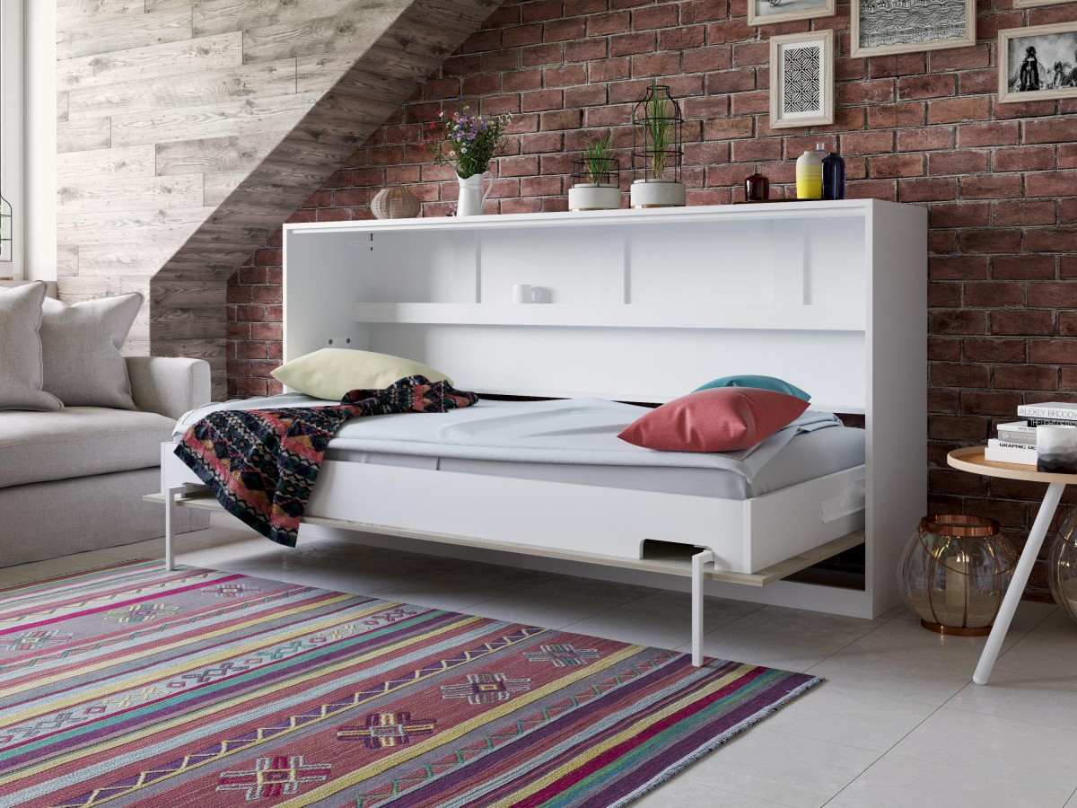 smartbett schrankbett basic 90x200 horizontal weiss eiche sonoma mit. Black Bedroom Furniture Sets. Home Design Ideas