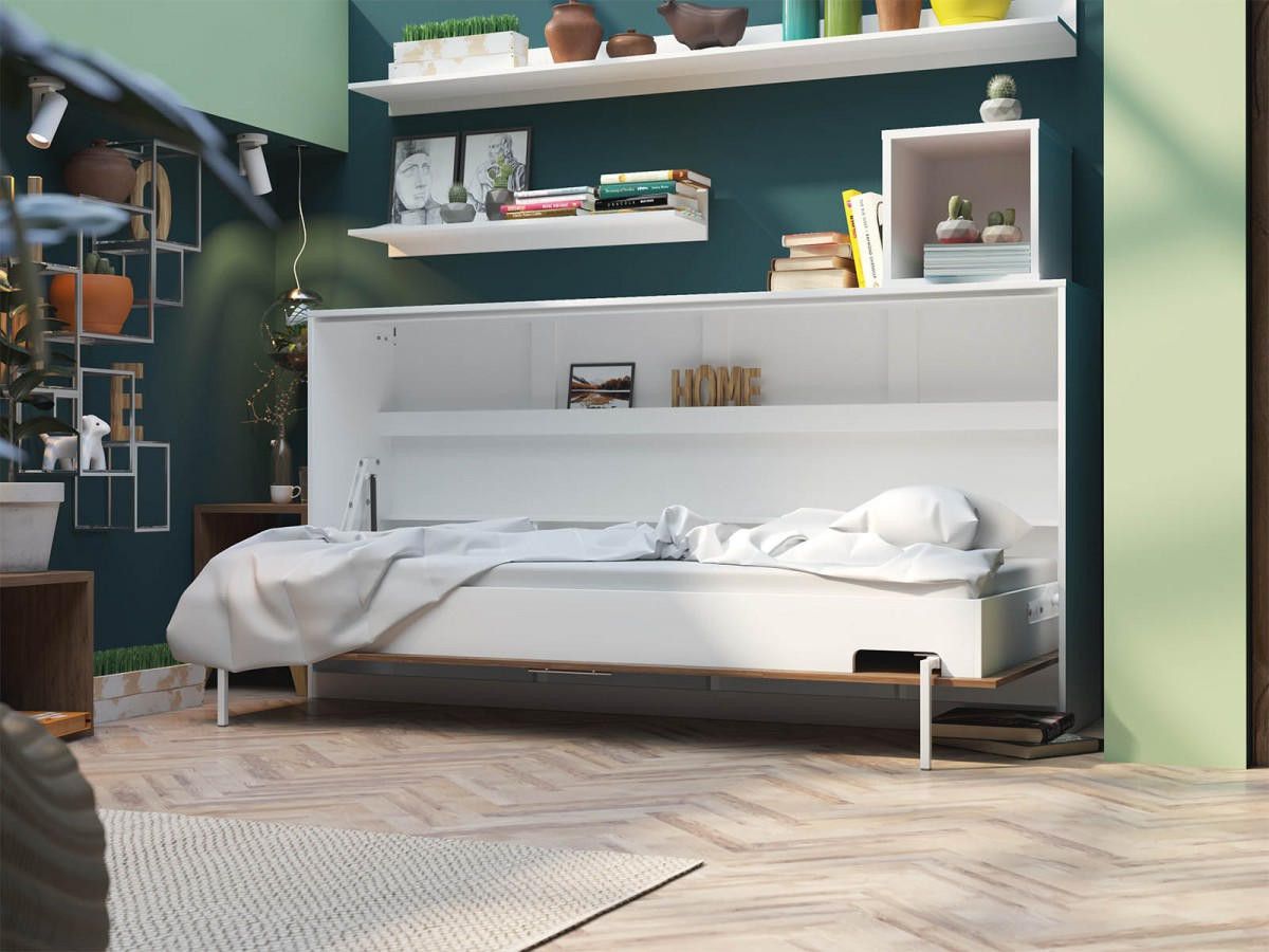 smartbett schrankbett basic 90x200 horizontal weiss nussbaum mit gas. Black Bedroom Furniture Sets. Home Design Ideas