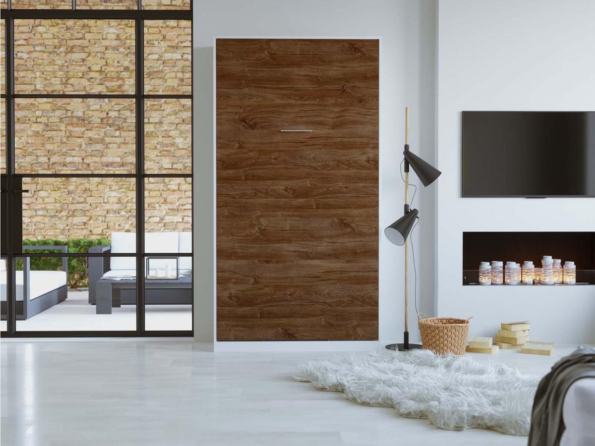 smartbett schrankbett basic 90x200 vertikal weiss nussbaum mit gas. Black Bedroom Furniture Sets. Home Design Ideas