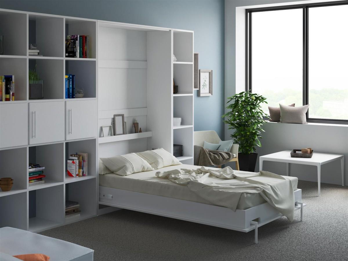smartbett schrankbett basic120x200 vertikal weiss mit. Black Bedroom Furniture Sets. Home Design Ideas