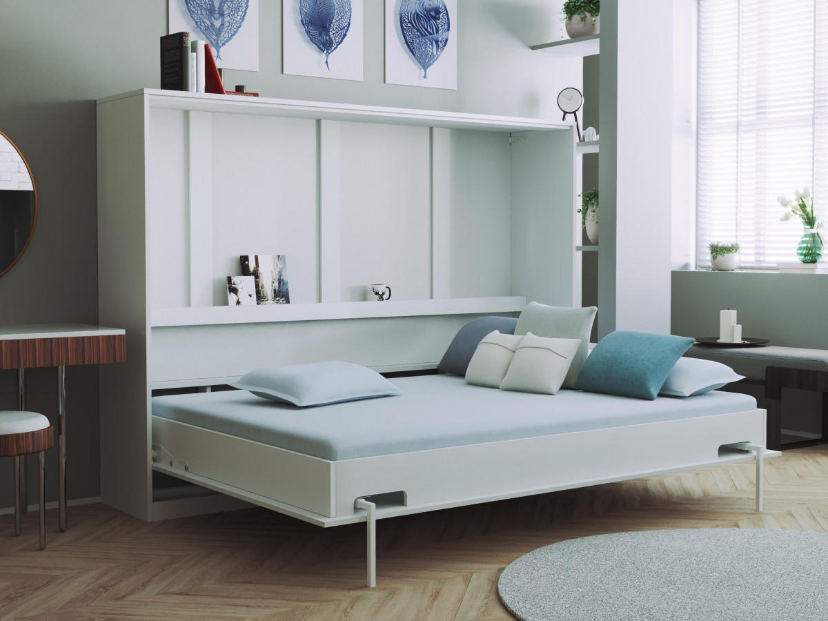 smartbett schrankbett basic140x200 horizontal weiss mit gasdruckfeder. Black Bedroom Furniture Sets. Home Design Ideas