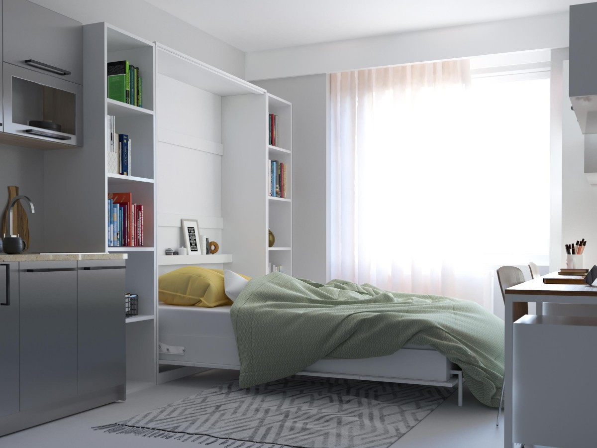 Smartbett Folding Wall Bed Basic 140 X200 Vertical White