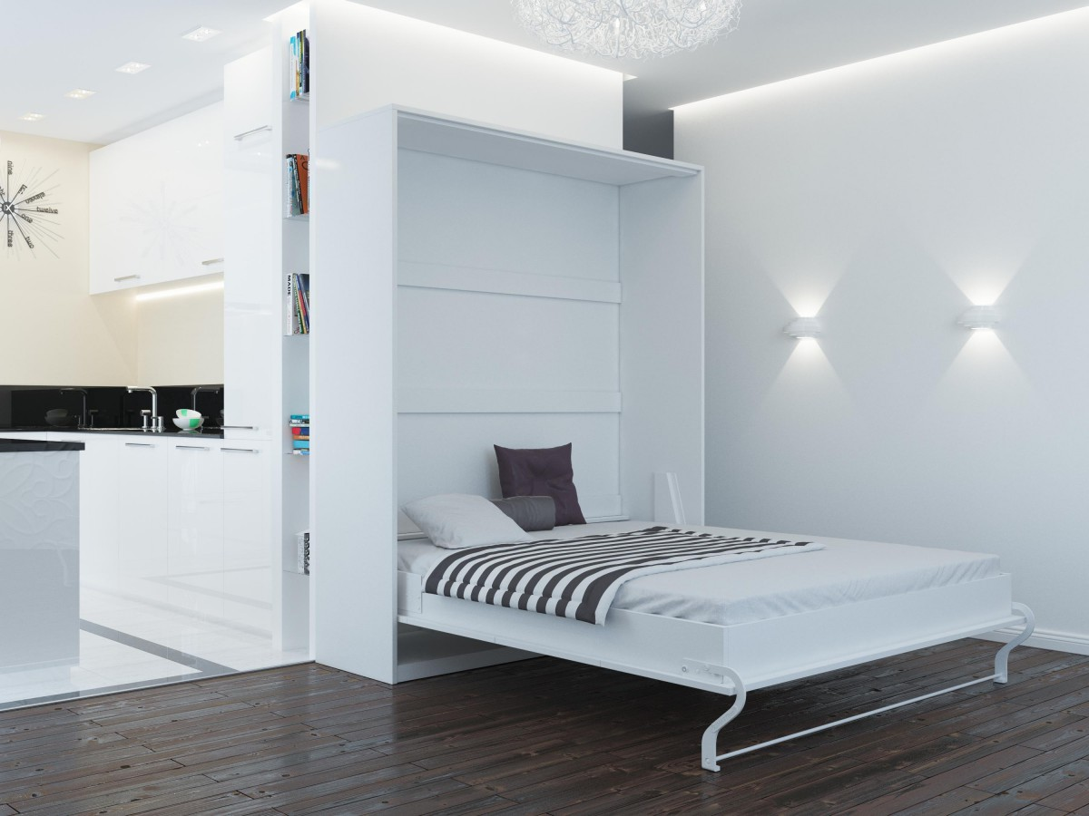 schrankbett 160cm vertikal weiss smartbett klappbett. Black Bedroom Furniture Sets. Home Design Ideas