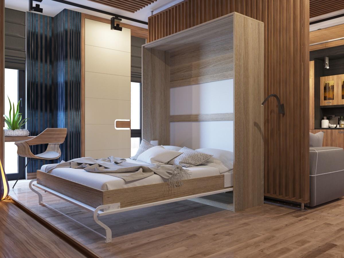 schrankbett 160cm vertikal weiss hochglanzfront smartbett schrankklap. Black Bedroom Furniture Sets. Home Design Ideas
