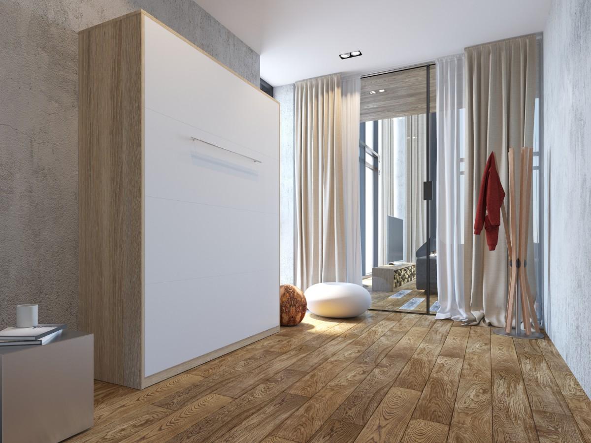 schrankbett 160x200 eiche sonoma front weiss smartbett mit tonnenta. Black Bedroom Furniture Sets. Home Design Ideas