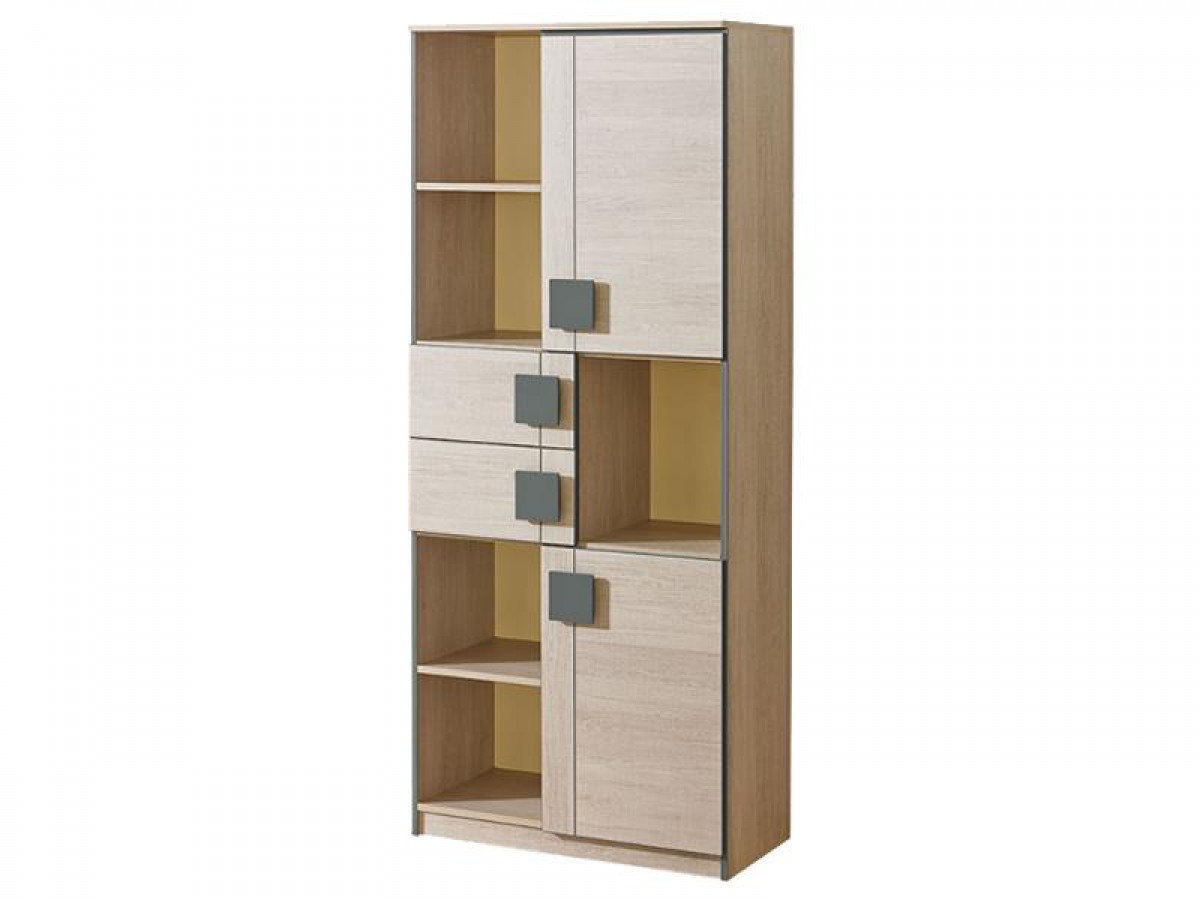 schrank regal mit zwei t ren und 2 schubladen und 5 f chern. Black Bedroom Furniture Sets. Home Design Ideas