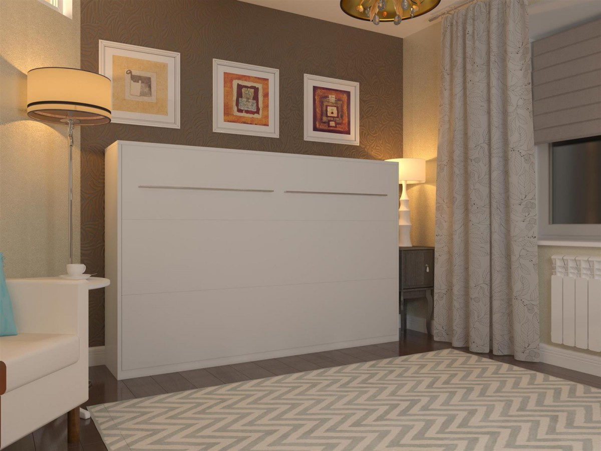 schrankbett 120cm horizontal weiss smartbett 699 95. Black Bedroom Furniture Sets. Home Design Ideas