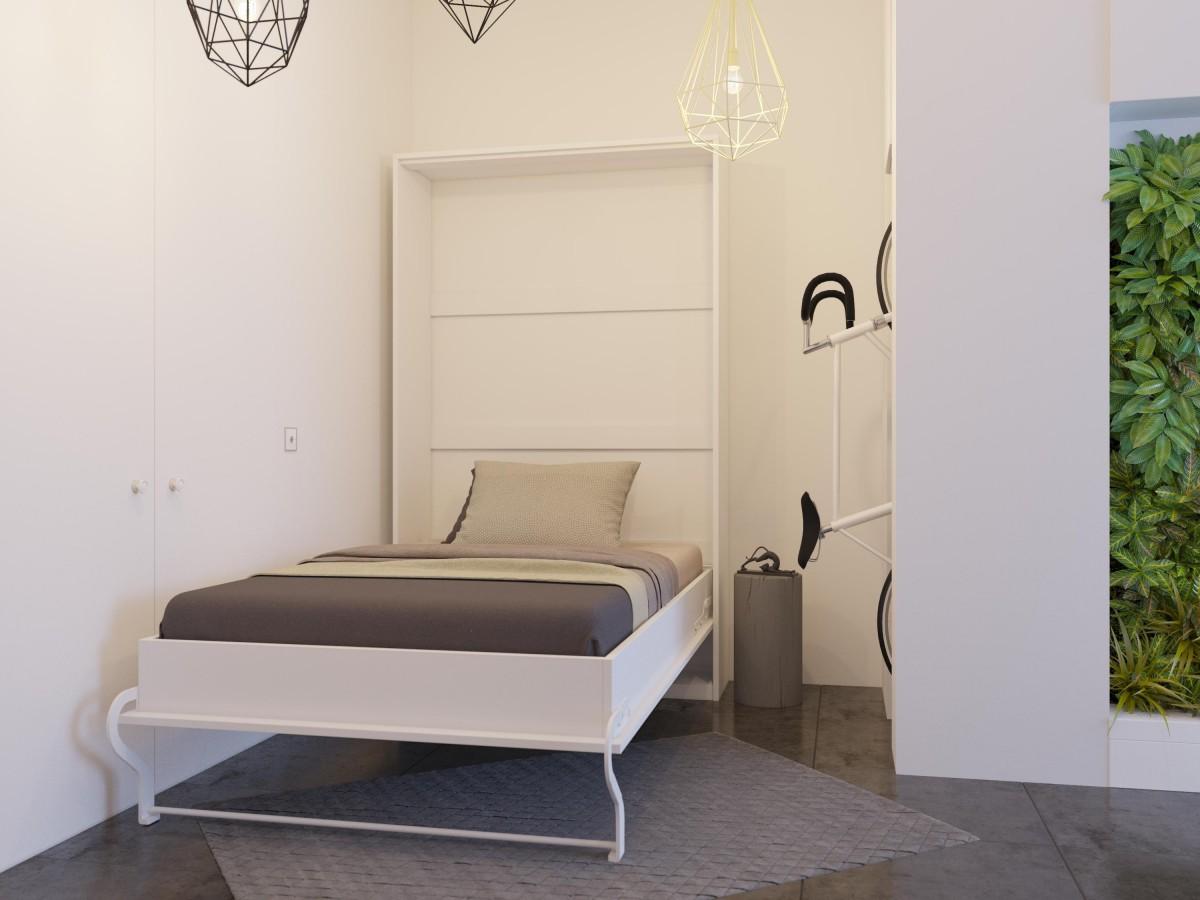 schrankbett 120cm vertikal weiss lattenrost mit holzrahmen. Black Bedroom Furniture Sets. Home Design Ideas