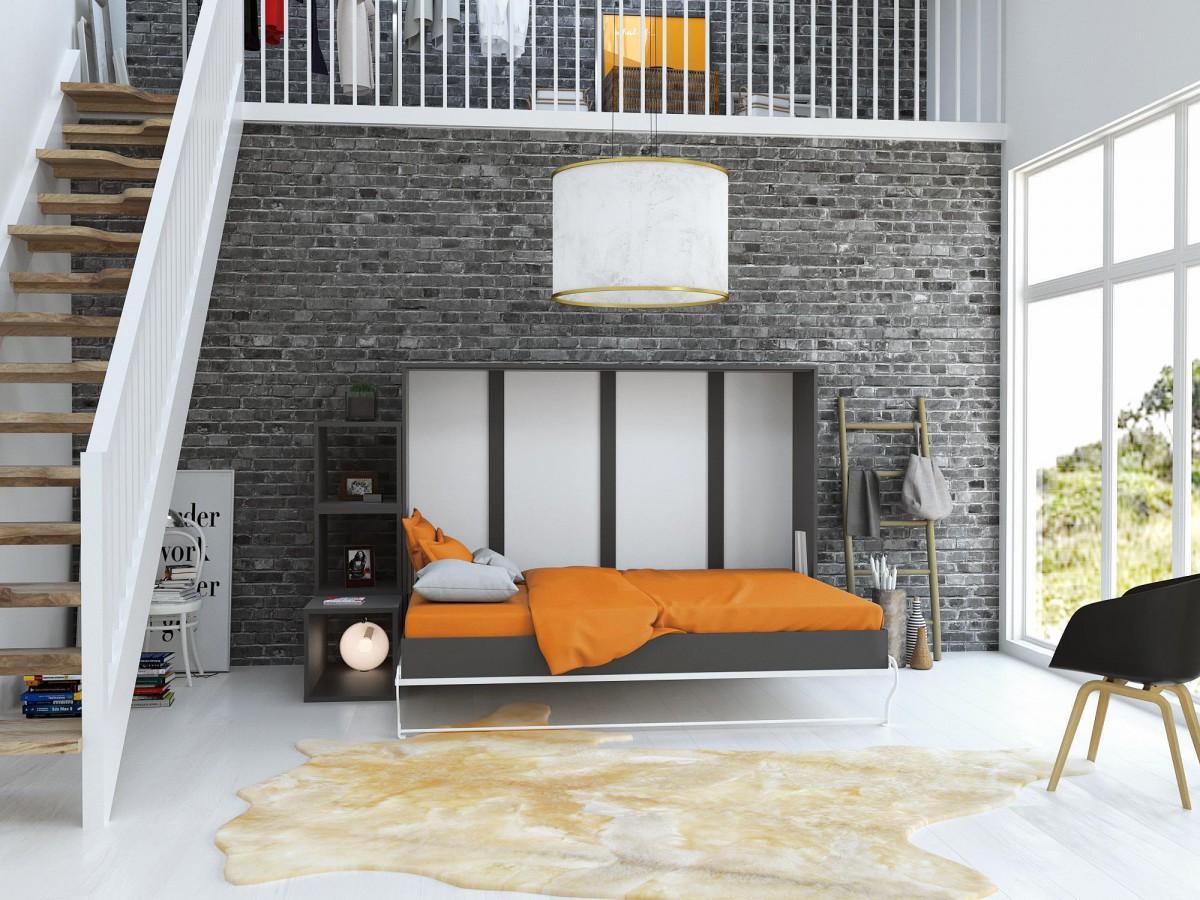 schrankbett 140cm horizontal anthrazit grau weisse front. Black Bedroom Furniture Sets. Home Design Ideas