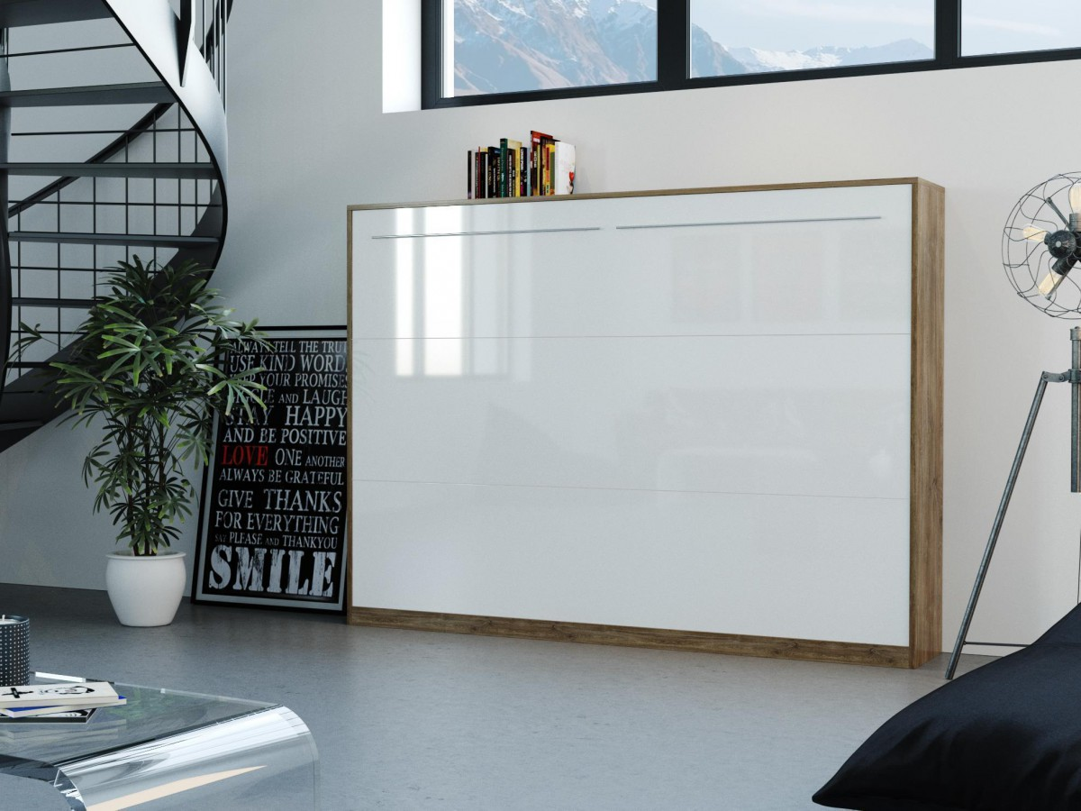 folding wall bed 140cm horizontal walnut with white high. Black Bedroom Furniture Sets. Home Design Ideas