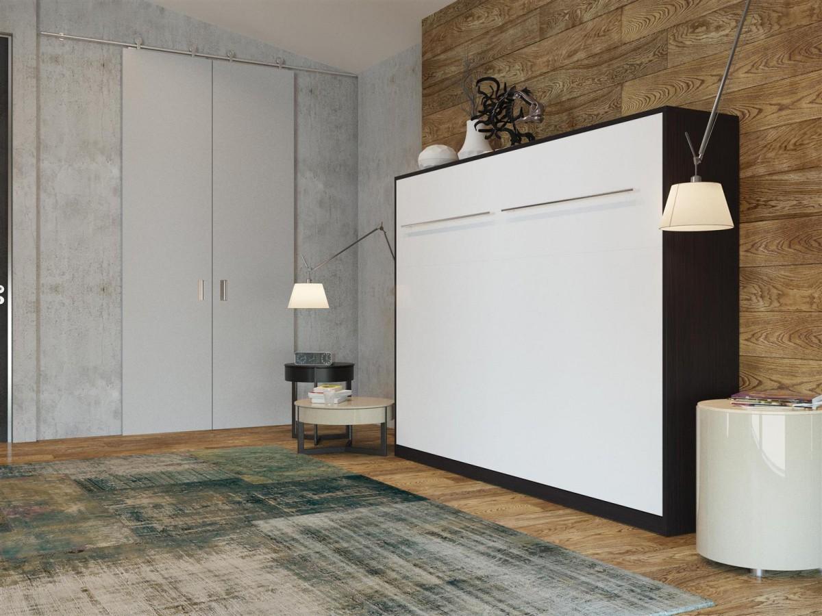 folding wall bed smartbett 140cm horizontal venge with. Black Bedroom Furniture Sets. Home Design Ideas