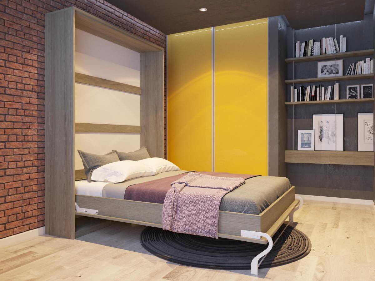 Folding wall bed smartbett murphy bed 140cm vertical oak sonoma, 824
